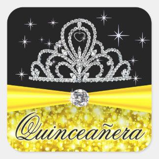 Yellow Black Princess Tiara Quinceanera Bling Square Sticker