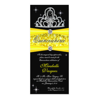 "Yellow Black Princess Tiara Quinceanera tea length 4"" X 9.25"" Invitation Card"