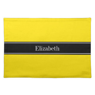 Yellow, Black Ribbon Name Monogram Placemat