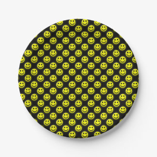 Yellow-Black Smiley Face Beads 1-PAPER PLATES 7 Inch Paper Plate