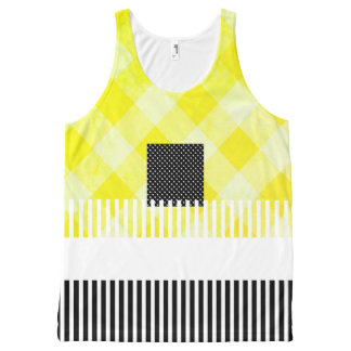 Yellow-Black-Summer-Fun-Women-Tank-Top All-Over-Print Tank Top