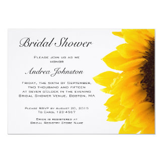"Yellow Black Sunflower Bridal Shower Invitation 5"" X 7"" Invitation Card"