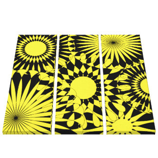Yellow Black Sunshine Flowers Retro Canvas Print