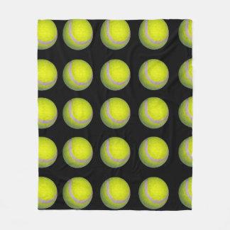 Yellow Black Tennis Ball Pattern, Fleece Blanket