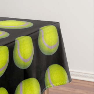 Yellow Black Tennis Ball Pattern, Tablecloth