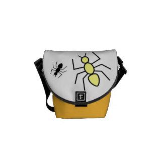 Yellow & Black Vector Ants Messenger Bag