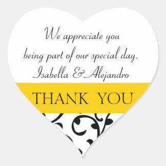Yellow, Black Wedding Favor Thank You Message Heart Sticker