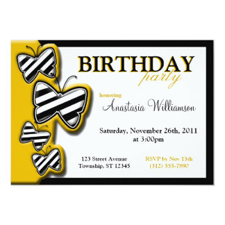 Yellow Black & White Butterfly Birthday Invites