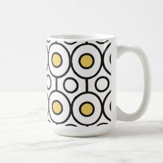 Yellow Black White Modern Dots Classic White Coffee Mug