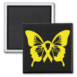 Yellow Bladder Cancer Butterfly square magnet