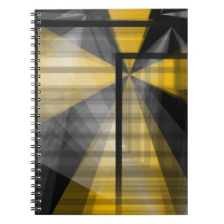 Yellow Blk Abstract Spiral Notebook