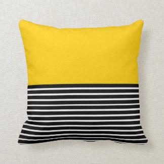 Yellow Block Black White Stripes Throw Pillow