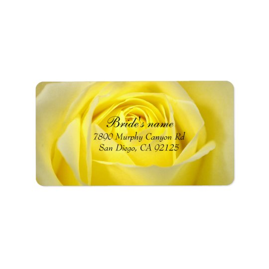 Yellow Bloom Rose Address label