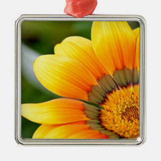 Yellow Bloom Silver-Colored Square Ornament