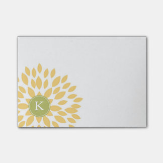 Yellow Blooming Blossom with Green Monogram Post-it Notes