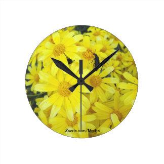Yellow Blooms Wall Clocks