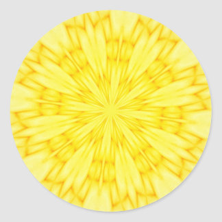 Yellow Blossom Fractal Classic Round Sticker