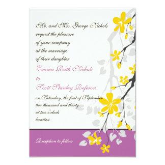 "Yellow blossoms purple wedding custom 5"" x 7"" invitation card"