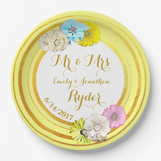 Yellow, Blue  and Gold Floral Wedding Paper Plates