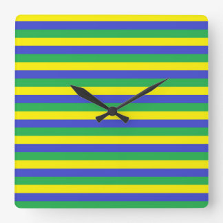 Yellow, Blue and Green Stripes Wall Clock