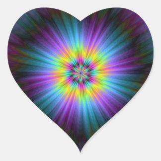 Yellow Blue and Pink Star Burst Heart Sticker