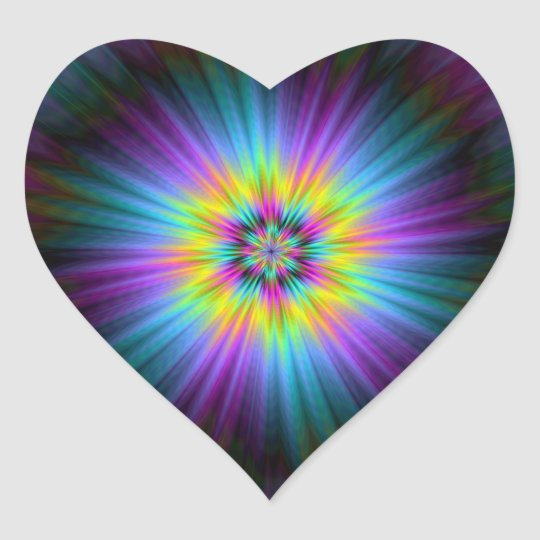 Yellow Blue and Pink Star Burst Heart Sticker
