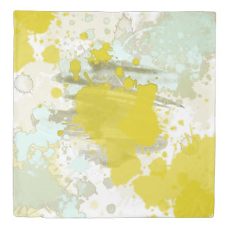 Yellow Blue Aqua Gray Watercolor Abstract Pattern Duvet Cover