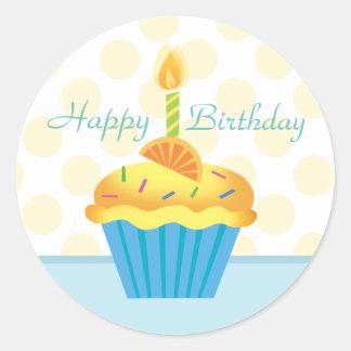 Yellow & Blue Birthday Cupcake Sticker Round Sticker