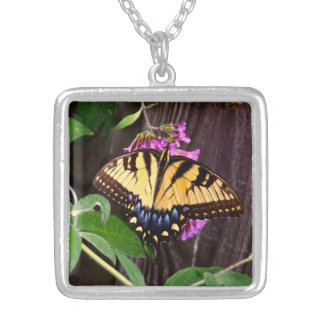 Yellow-Blue Butterfly square pendant