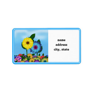 Yellow Blue Cartoon Sunflowers Personalized Address Labels