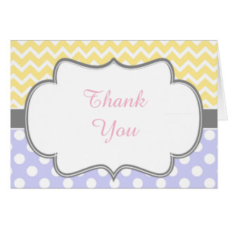 Yellow & Blue Chevron and Spots Thank You Card
