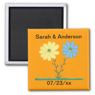 Yellow & Blue Daisy Flowers Save the date Magnets