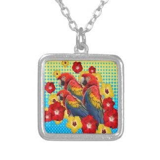 YELLOW-BLUE  FLORAL MACAWS SILVER PLATED NECKLACE