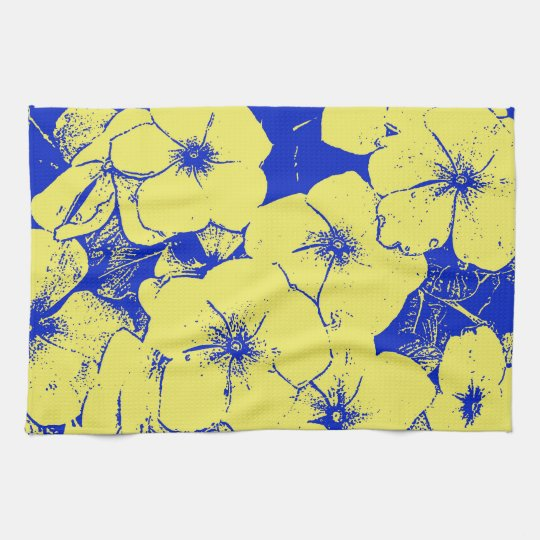 Yellow Blue Floral Motif Hand Towels