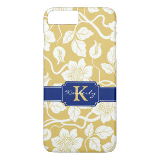 Yellow & blue floral name / initial iPhone 8 plus/7 plus case