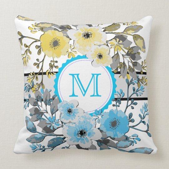 Yellow Blue Floral Vintage Monogram Throw Pillow