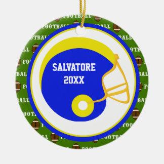 Yellow & Blue Football Helmet Christmas Ornament