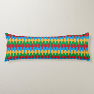 Yellow Blue Green & Red Geometric Scallops Body Pillow