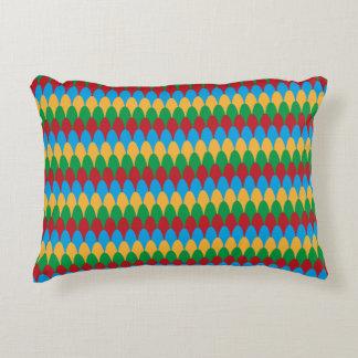 Yellow Blue Green & Red Geometric Scallops Decorative Pillow