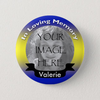 Yellow & Blue Memorial Photo Button