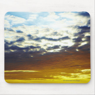 Yellow Blue Moody Sunset with Clouds Mouse Pad