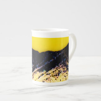 Yellow Blue Mountain China Cup