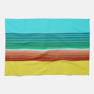 Yellow Blue Multicolor Striped Pattern Towels