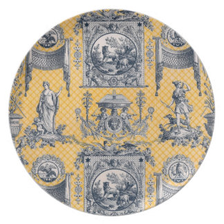 Yellow & Blue NeoClassical  French Toile Plate