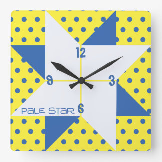 Yellow & Blue Pale Star Quilt Block Square Wall Clock