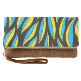 yellow blue pattern clutch