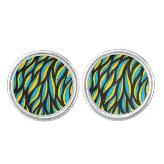 yellow blue pattern cuff links