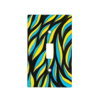 yellow blue pattern light switch cover
