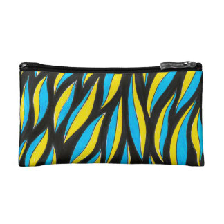 yellow blue pattern makeup bag