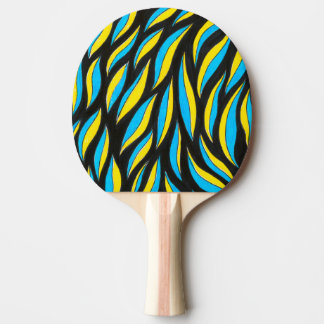 yellow blue pattern ping pong paddle